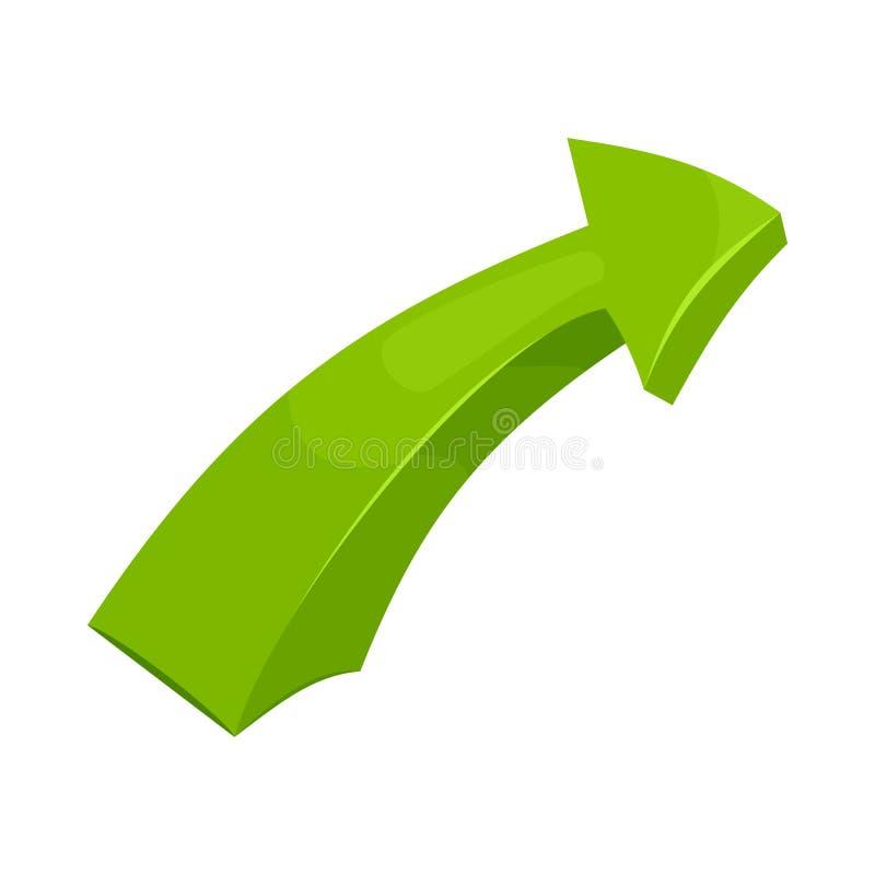 Ícone verde da seta direita, estilo dos desenhos animados ilustração stock