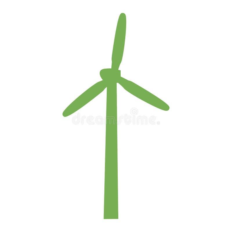 Ícone verde da turbina eólica, estilo simples ilustração royalty free