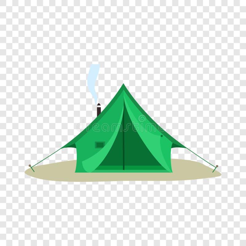 Ícone verde de acampamento da barraca, estilo liso ilustração do vetor