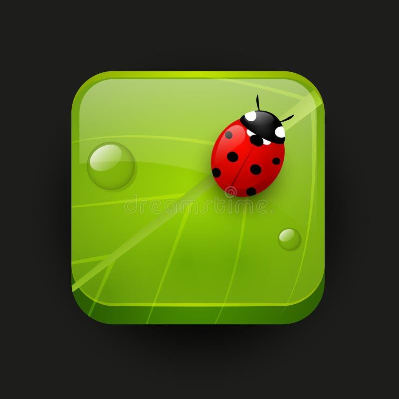 Ícone verde do app com joaninha ilustração stock