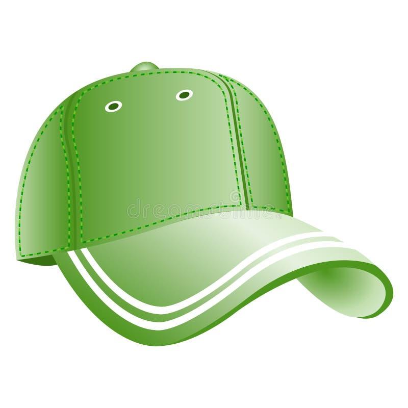 Ícone verde do boné de beisebol ilustração do vetor