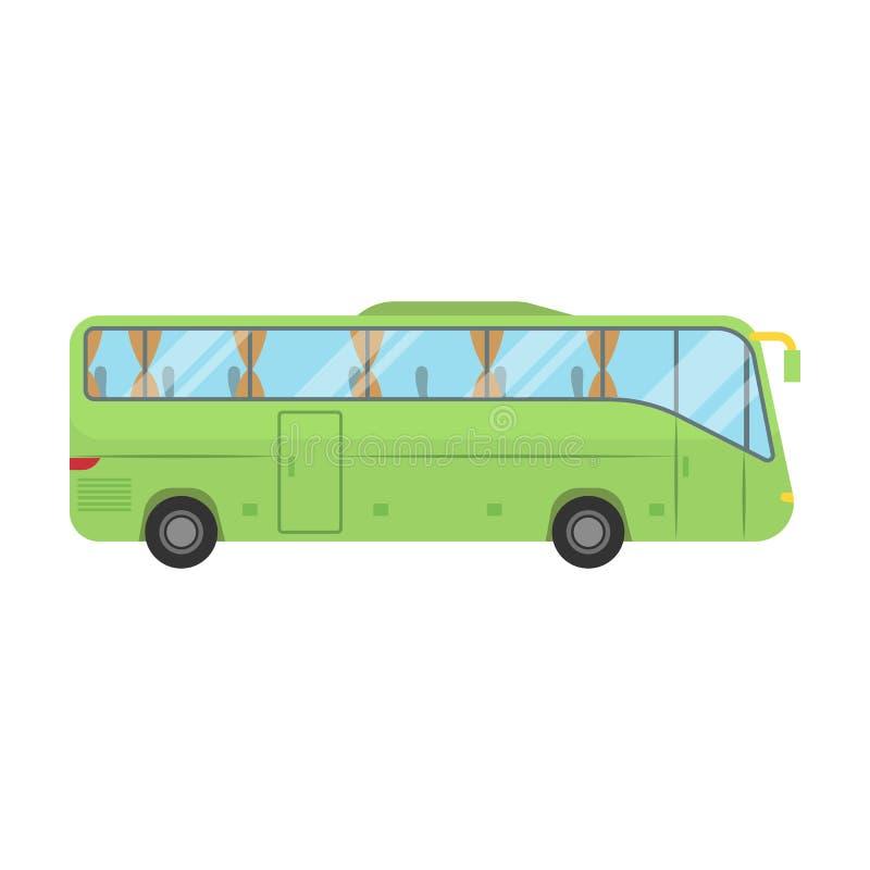 Ícone verde do ônibus de excursão no estilo dos desenhos animados isolado no fundo branco Ilustração do resto e do vetor do estoq ilustração royalty free