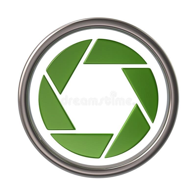 Ícone verde do obturador da câmera ilustração royalty free