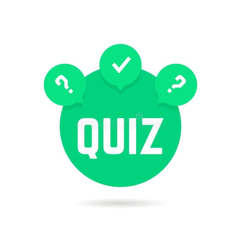 Ícone verde do questionário com bolha do discurso ilustração stock