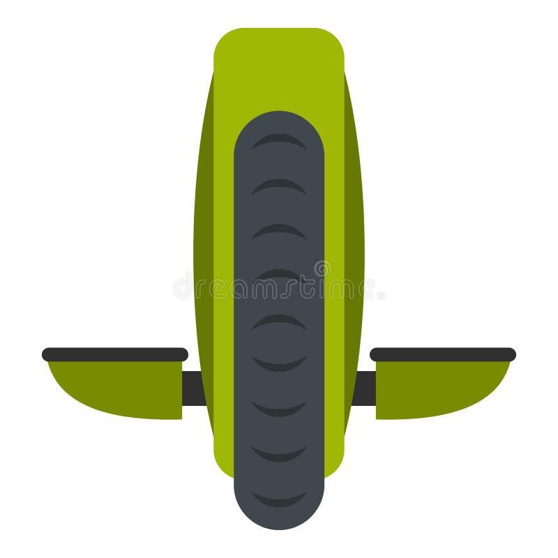 Ícone verde do veículo do equilíbrio do monowheel isolado ilustração royalty free