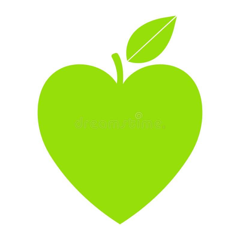 Ícone verde do vetor com forma e folha do coração Pode ser usado para o eco, o vegetariano, cuidados médicos ervais ou logotipo d ilustração royalty free
