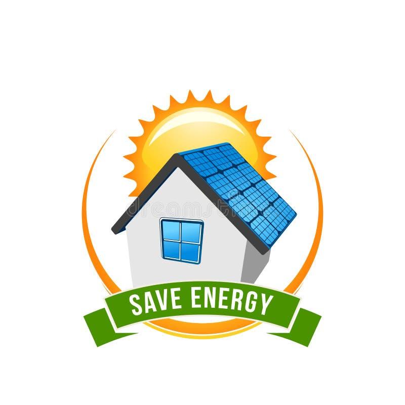 Ícone verde do vetor da casa solar das economias da energia ilustração royalty free