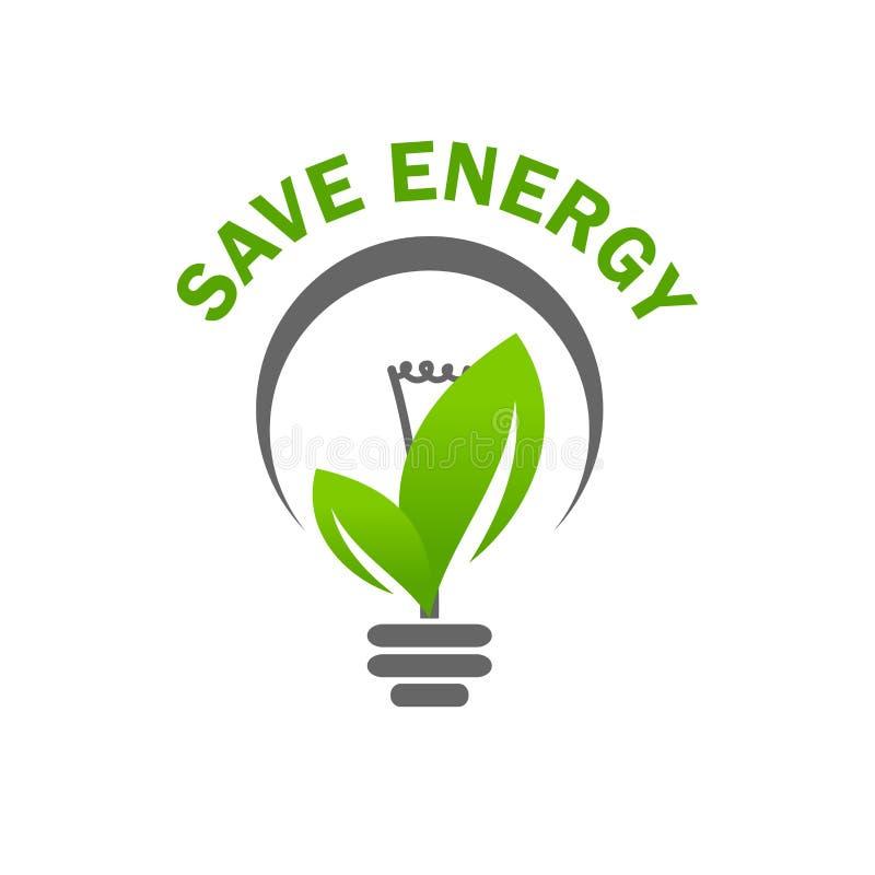 Ícone verde do vetor da energia das economias do bulbo de lâmpada da luz da folha ilustração do vetor