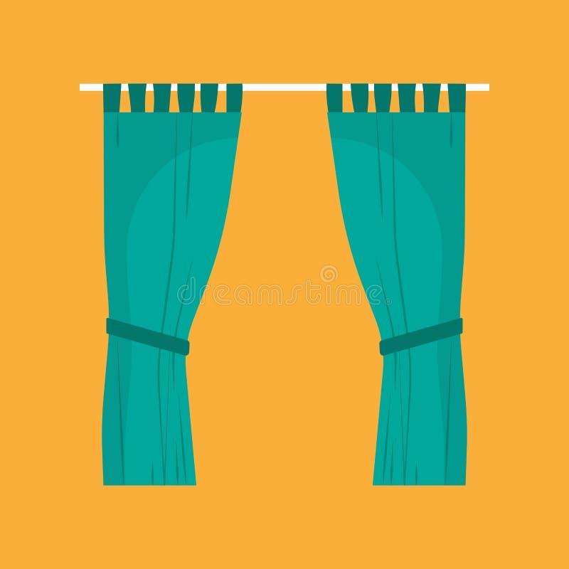 Ícone verde do vetor da fase do estilo da decoração de matéria têxtil dos urtains do ¡ de Ð Seda luxuosa da tela de pano liso int ilustração do vetor