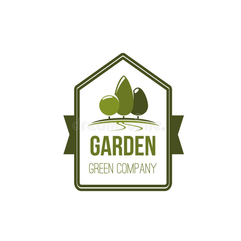 Ícone verde do vetor do parque da paisagem do eco da árvore do jardim ilustração royalty free