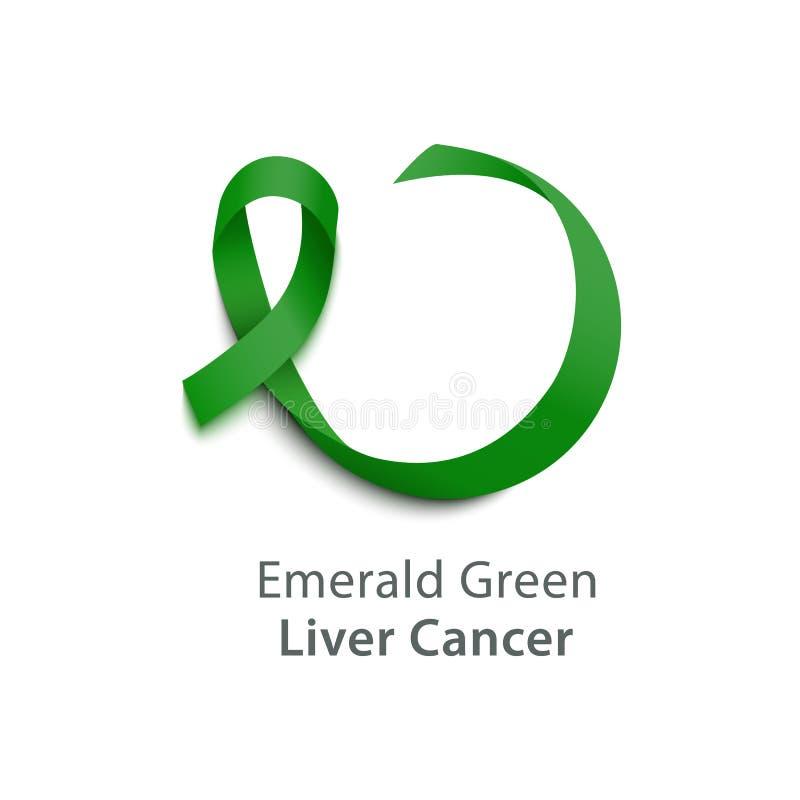 Ícone verde esmeralda ondulado realístico da fita do cetim 3d do símbolo do câncer do fígado ilustração do vetor