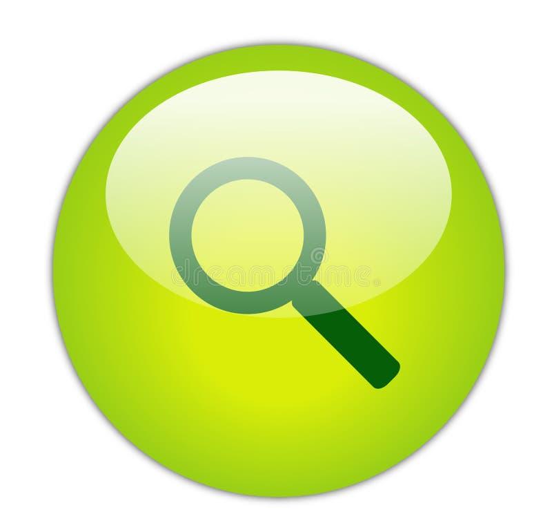 Ícone verde Glassy da busca ilustração stock