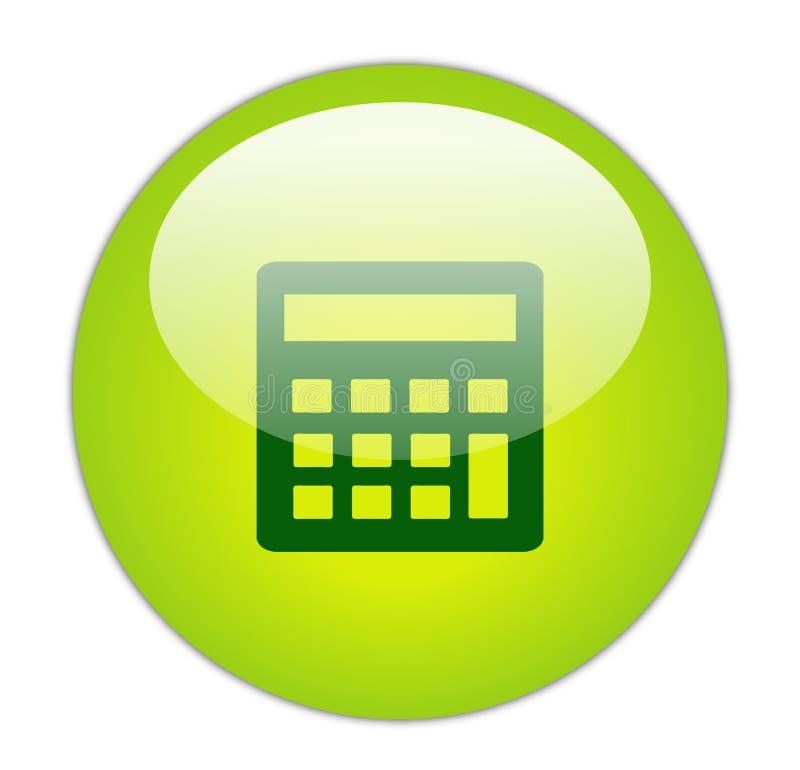 Ícone verde Glassy da calculadora ilustração royalty free