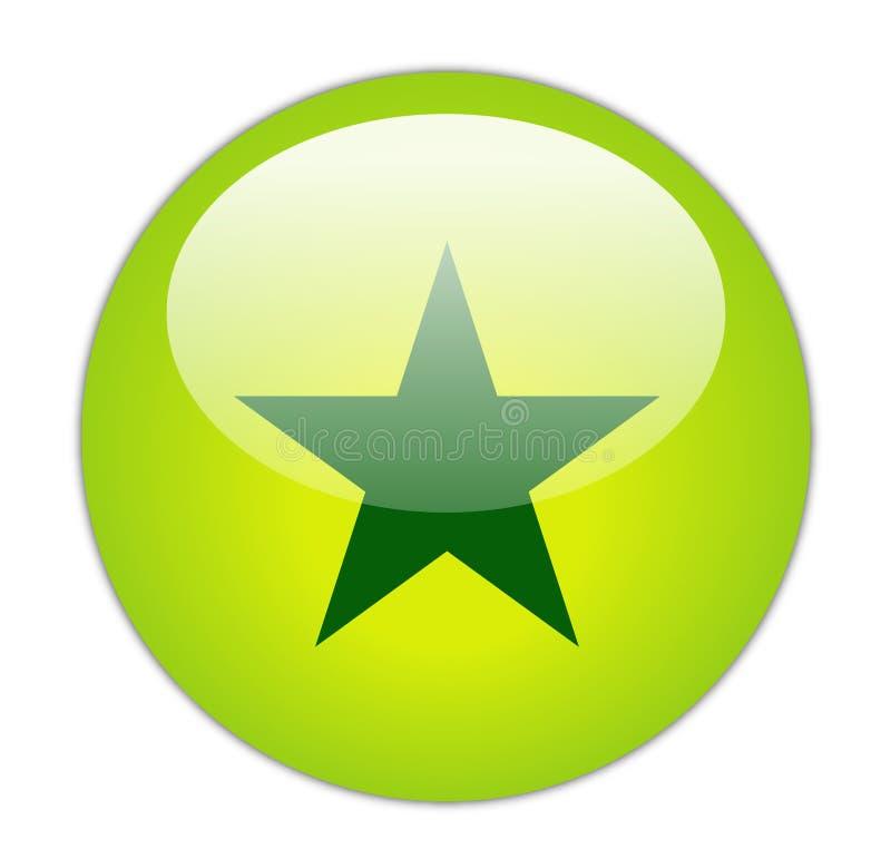 Ícone verde Glassy da estrela ilustração royalty free