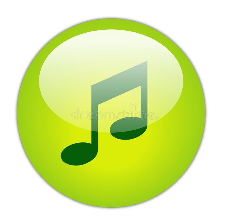 Ícone verde Glassy da música ilustração stock