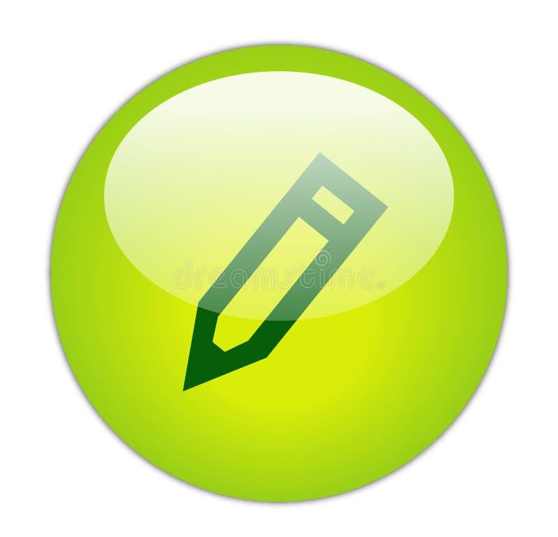 Ícone verde Glassy do lápis ilustração stock