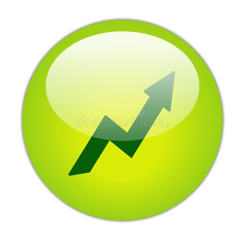 Ícone verde Glassy do lucro ilustração royalty free