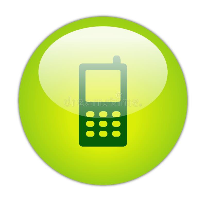 Ícone verde Glassy do telefone móvel ilustração royalty free