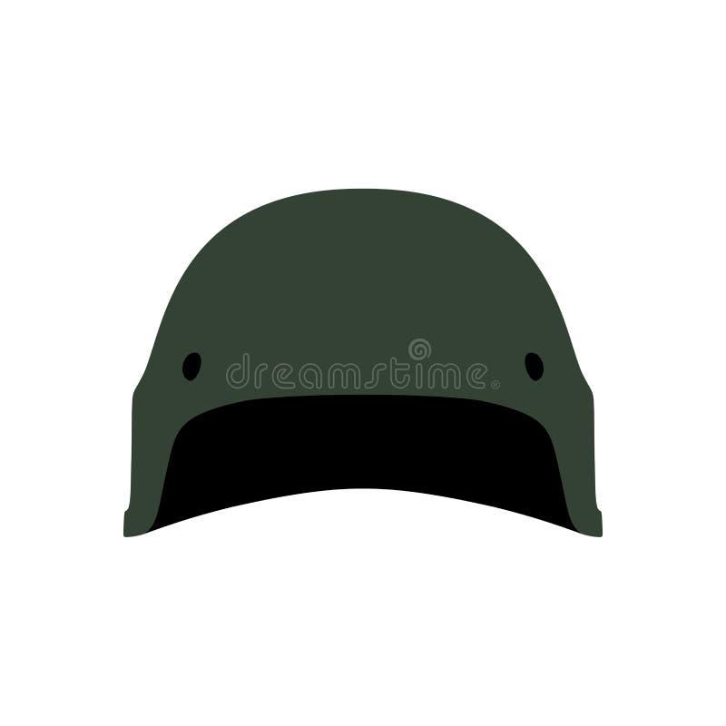 Ícone verde militar do vetor do equipamento do símbolo da proteção da armadura do capacete Soldado principal da guerra da munição ilustração do vetor