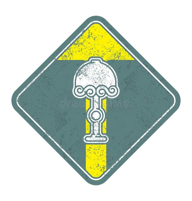 Ícone verde-oliva velho do vetor da lâmpada no fundo branco ilustração stock