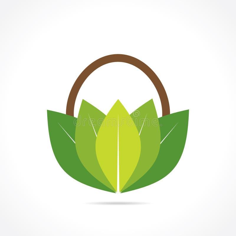 Ícone verde ou orgânico criativo da cesta ilustração do vetor