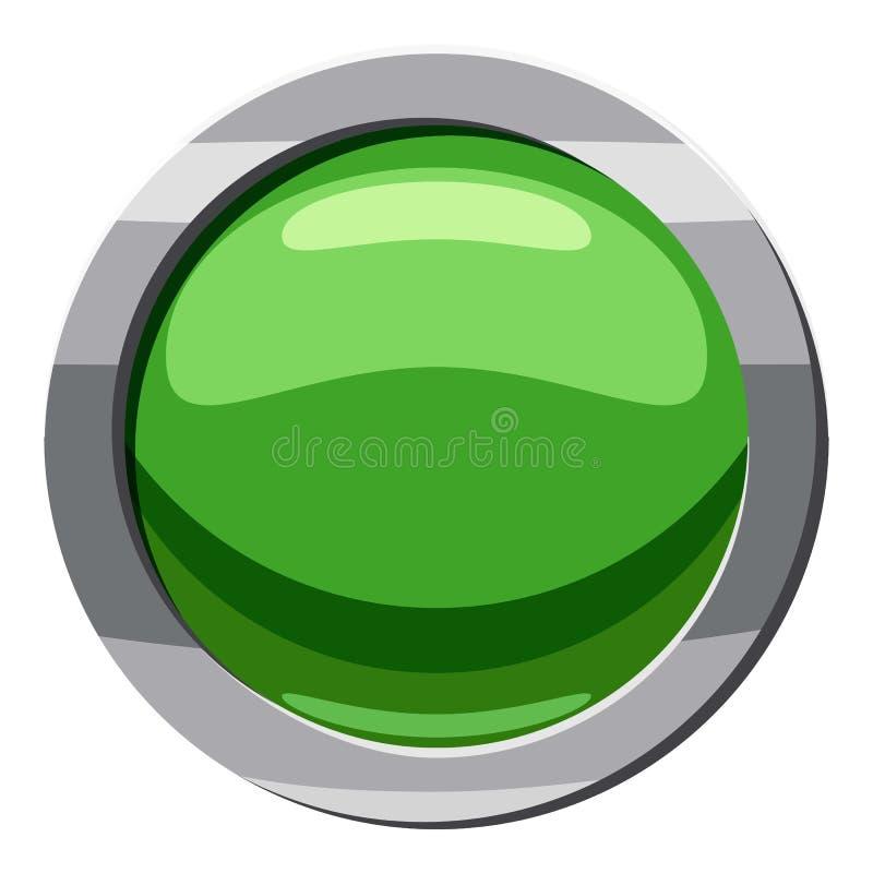 Ícone verde redondo do botão, estilo dos desenhos animados ilustração stock