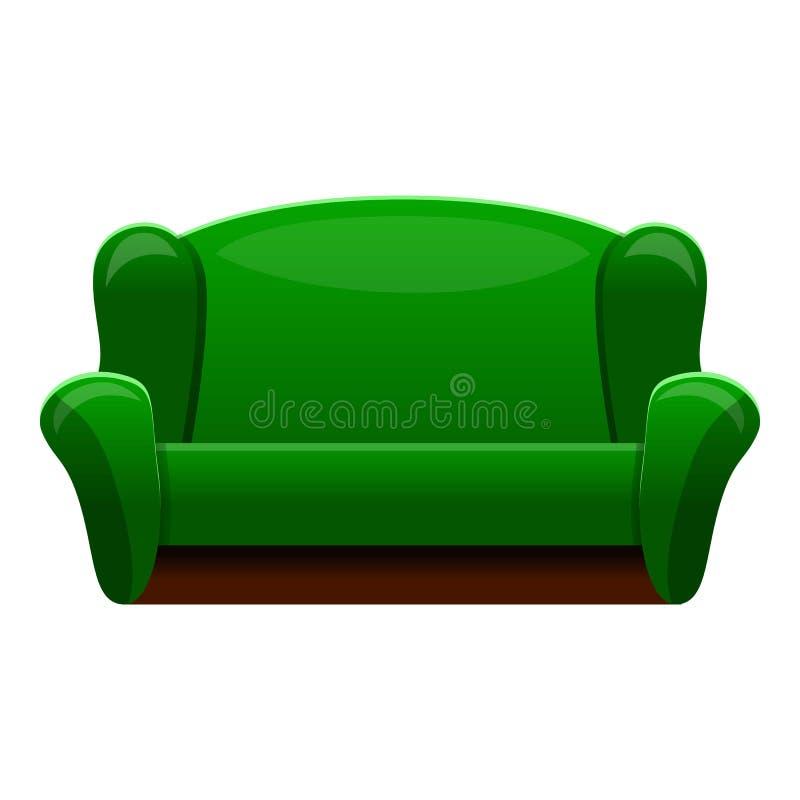 Ícone verde retro do sofá, estilo dos desenhos animados ilustração royalty free