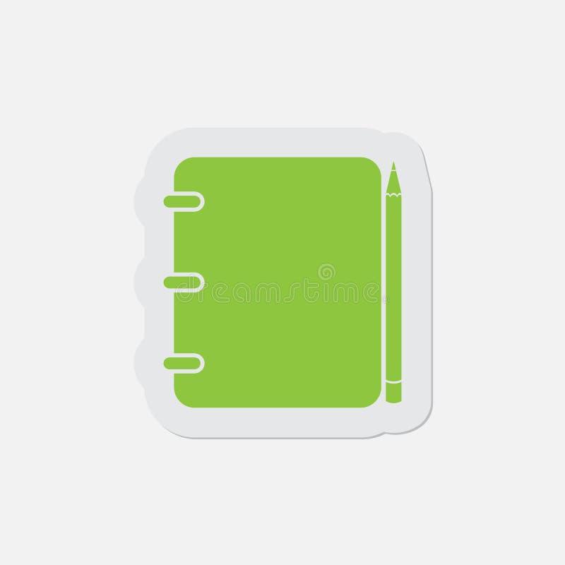 Ícone verde simples - bloco de notas e lápis obrigatórios ilustração do vetor