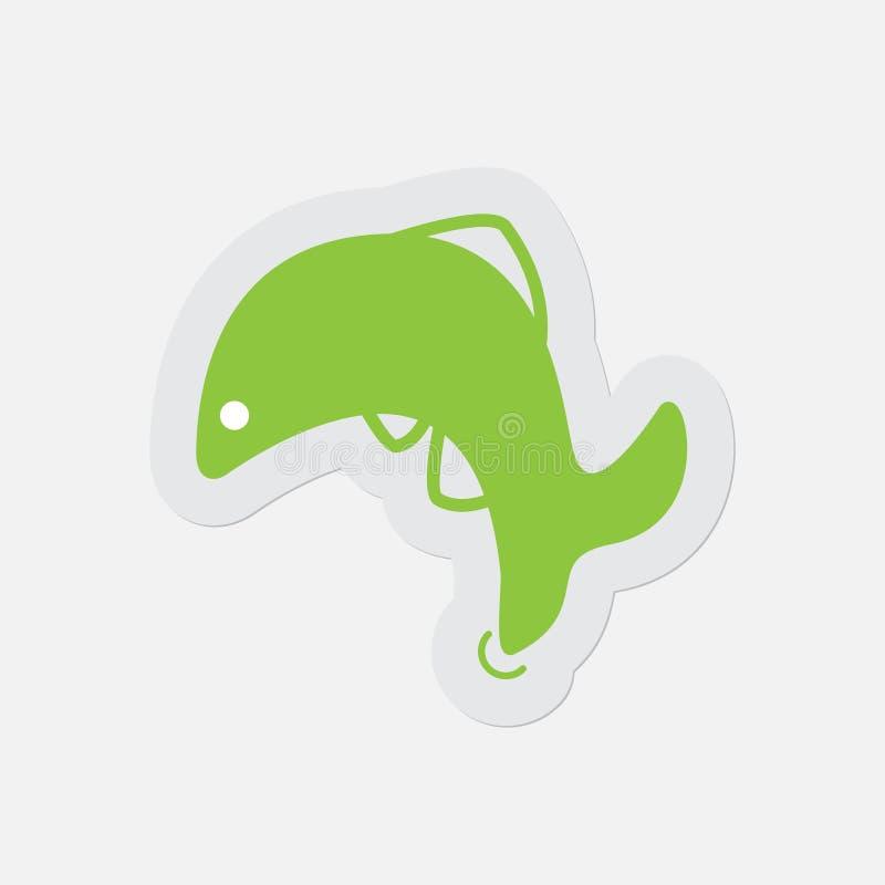Ícone verde simples - peixe de salto, golfinho ilustração royalty free
