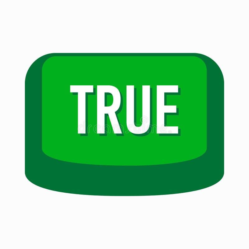 Ícone verde verdadeiro do botão, estilo simples ilustração royalty free