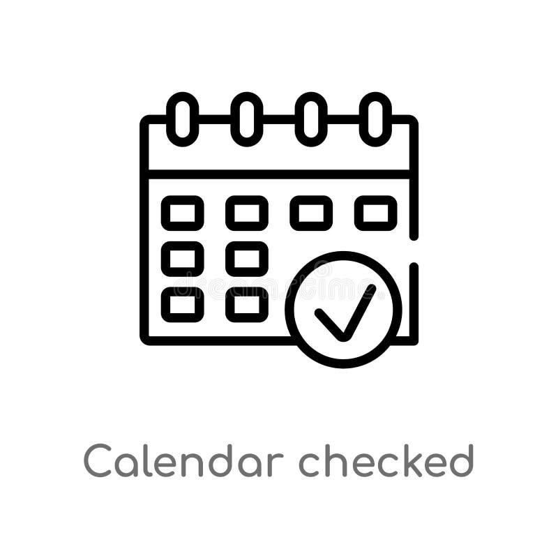 ícone verificado calendário do vetor do esboço linha simples preta isolada ilustra??o do elemento do conceito final dos glyphicon ilustração stock