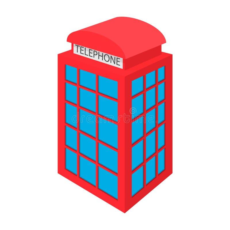 Ícone vermelho britânico da cabine de telefone, estilo dos desenhos animados ilustração royalty free