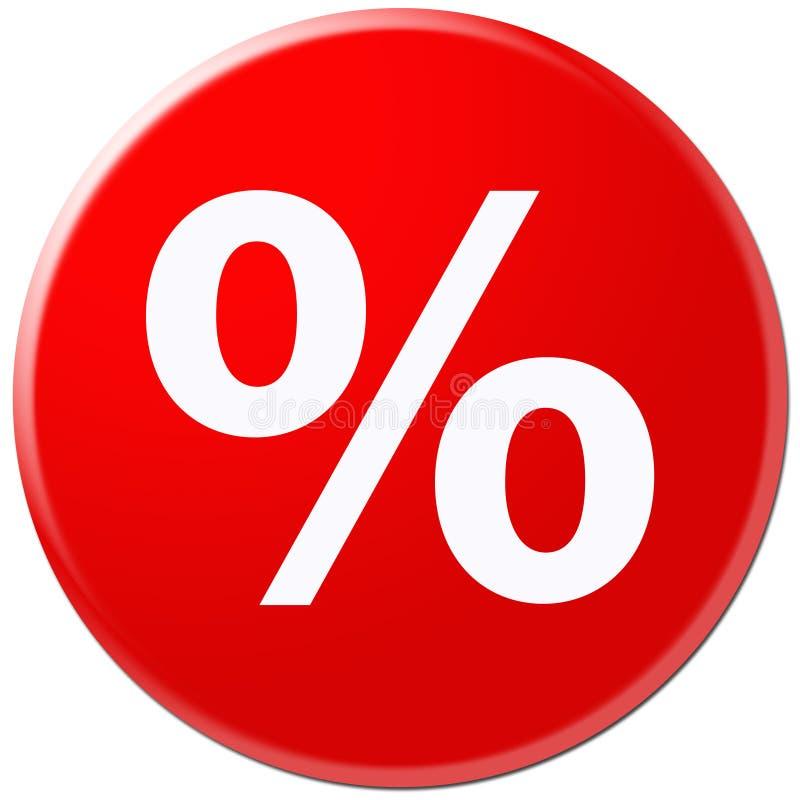 Ícone vermelho com símbolo da taxa ilustração do vetor