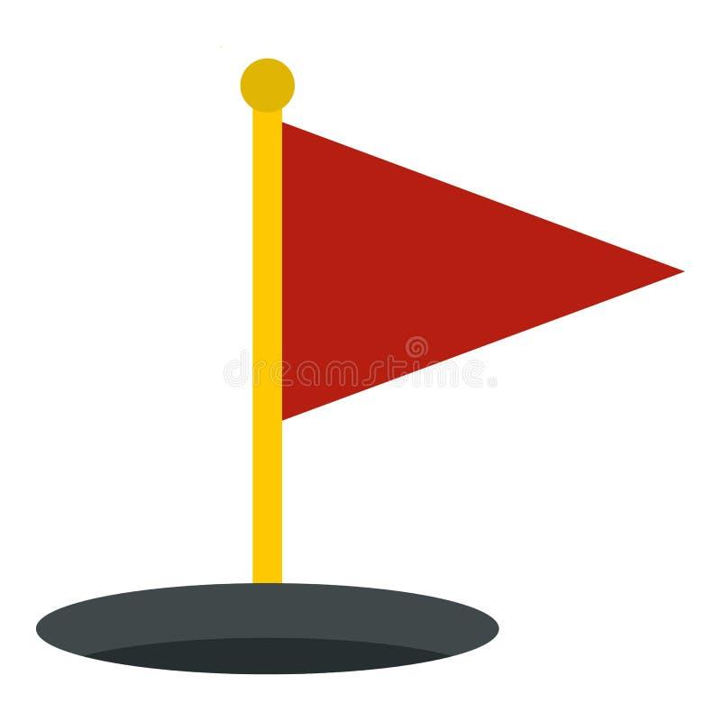 Ícone vermelho da bandeira do golfe isolado ilustração do vetor