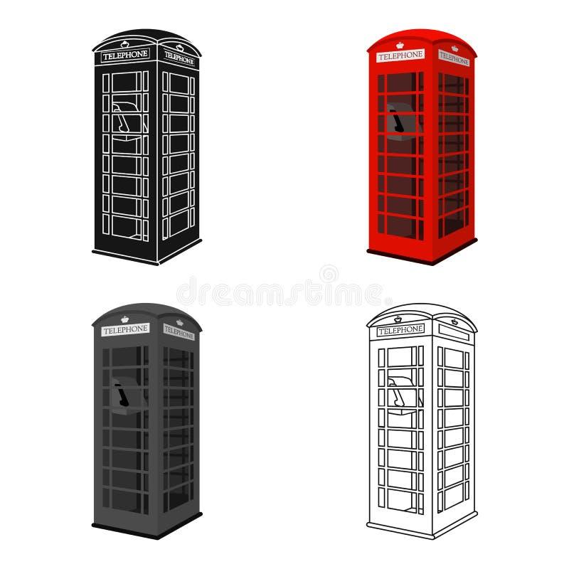 Ícone vermelho da cabine do telefone no estilo dos desenhos animados isolado no fundo branco Ilustração do vetor do estoque do sí ilustração stock