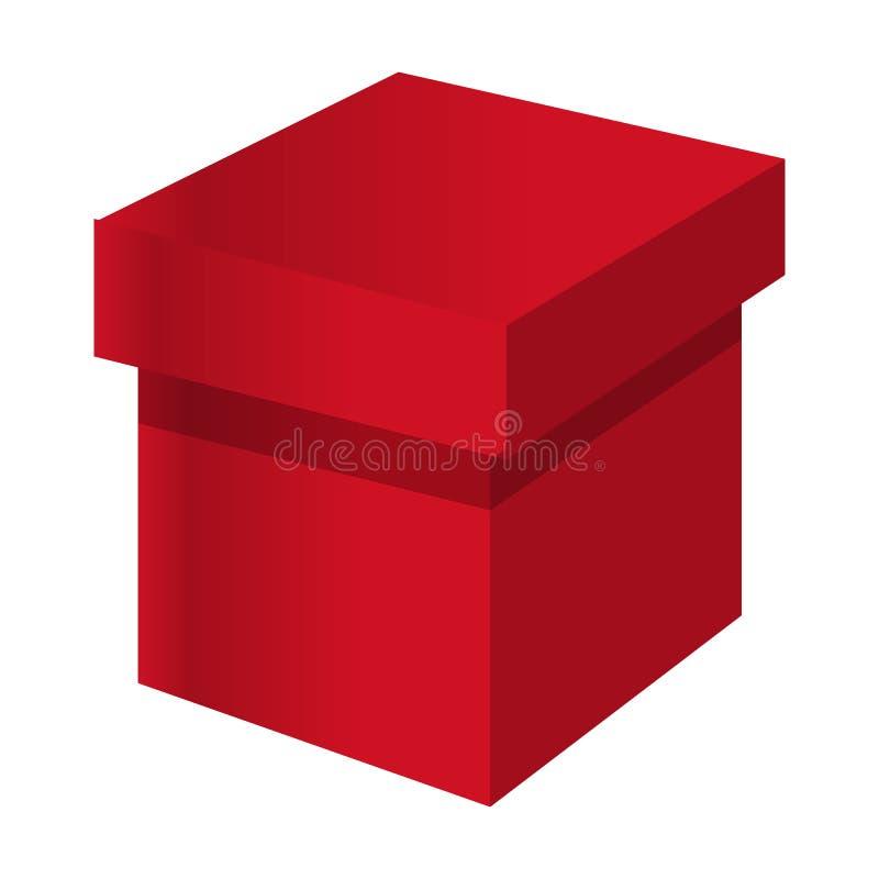 Ícone vermelho da caixa, estilo dos desenhos animados ilustração do vetor