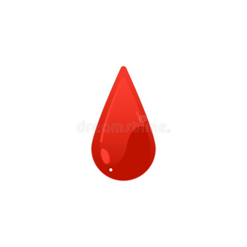 Ícone vermelho da gota do sangue - forma colorida da gota dos desenhos animados isolada no fundo branco ilustração do vetor