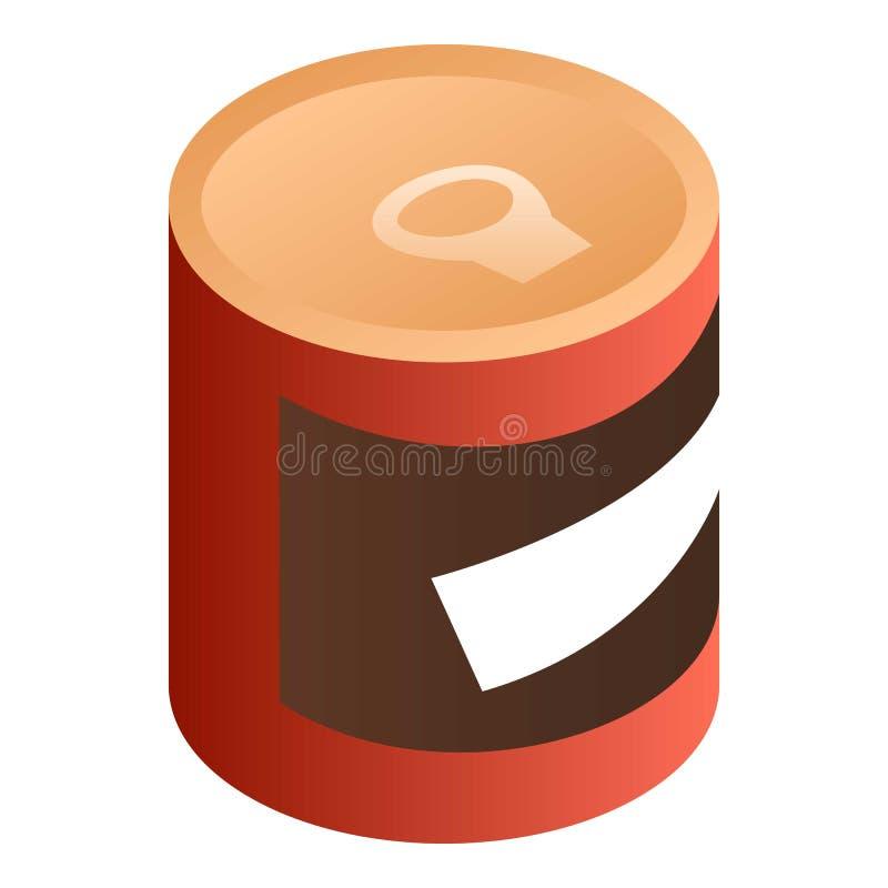 Ícone vermelho da lata de lata, estilo isométrico ilustração do vetor
