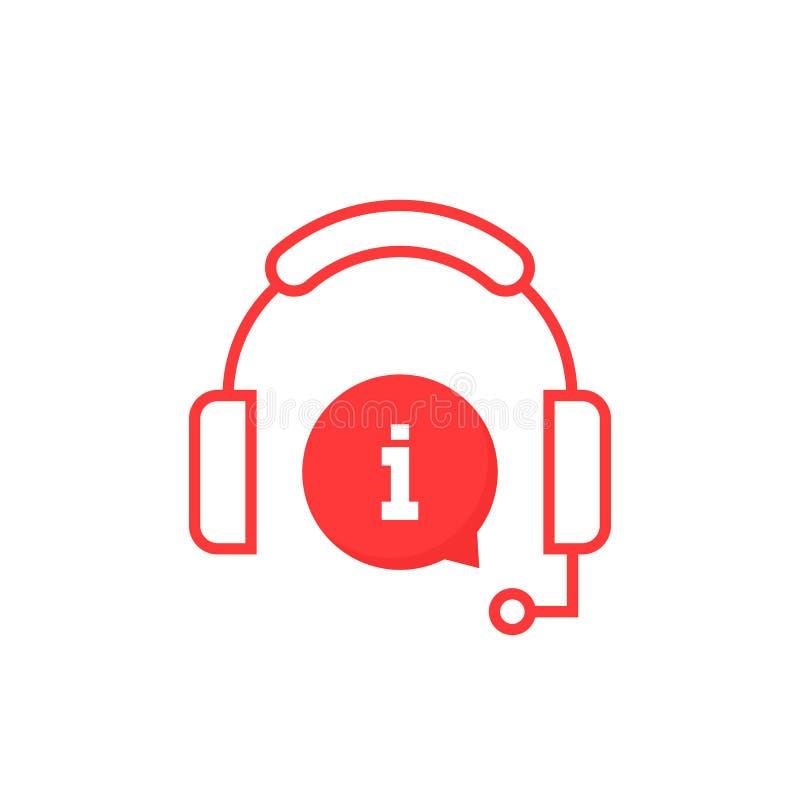 Ícone vermelho da linha de apoio ao cliente do serviço de informação ilustração do vetor