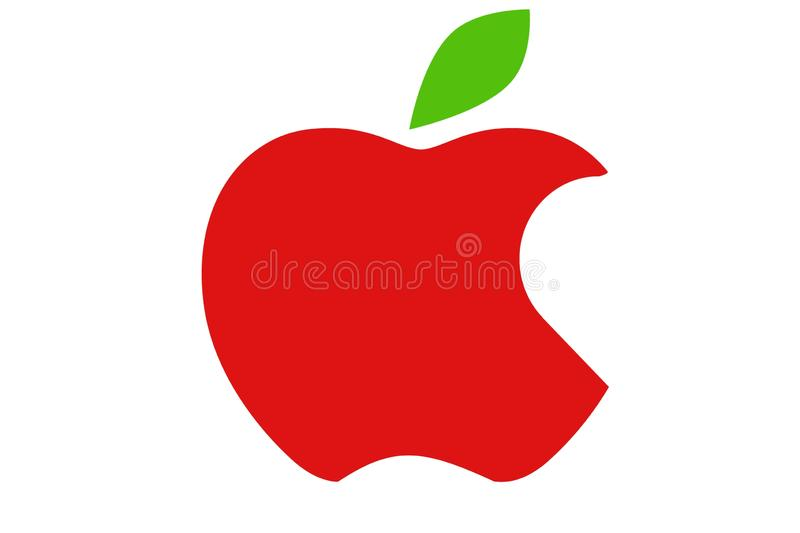 Ícone vermelho da maçã no fundo branco ilustração stock