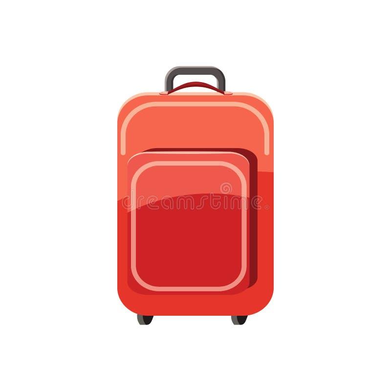 Ícone vermelho da mala de viagem do curso, estilo dos desenhos animados ilustração royalty free