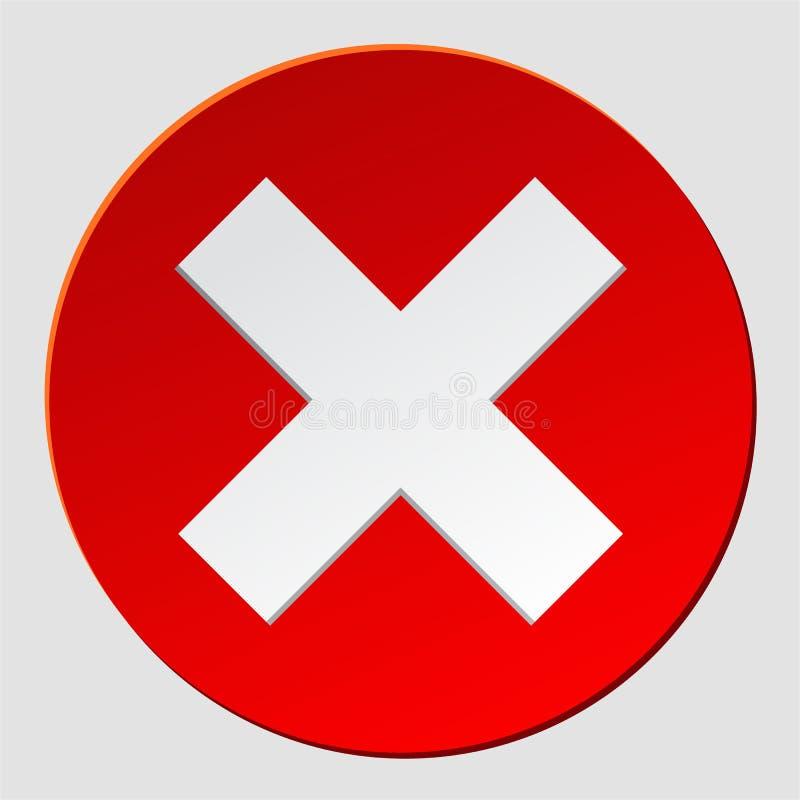 Ícone vermelho da marca da cruz de x Símbolo liso do cancelamento no círculo para o Web site Vetor eps10 ilustração royalty free