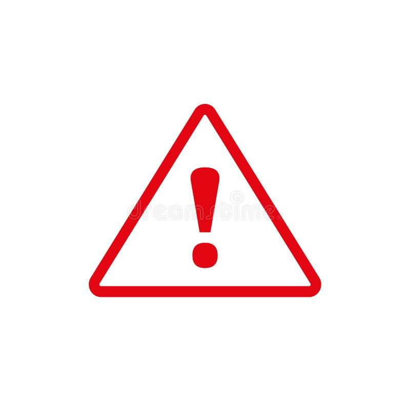 Ícone vermelho da marca de exclamação no estilo liso Conceito do neg?cio do risco do cuidado Ilustra??o do vetor do alarme do per ilustração royalty free