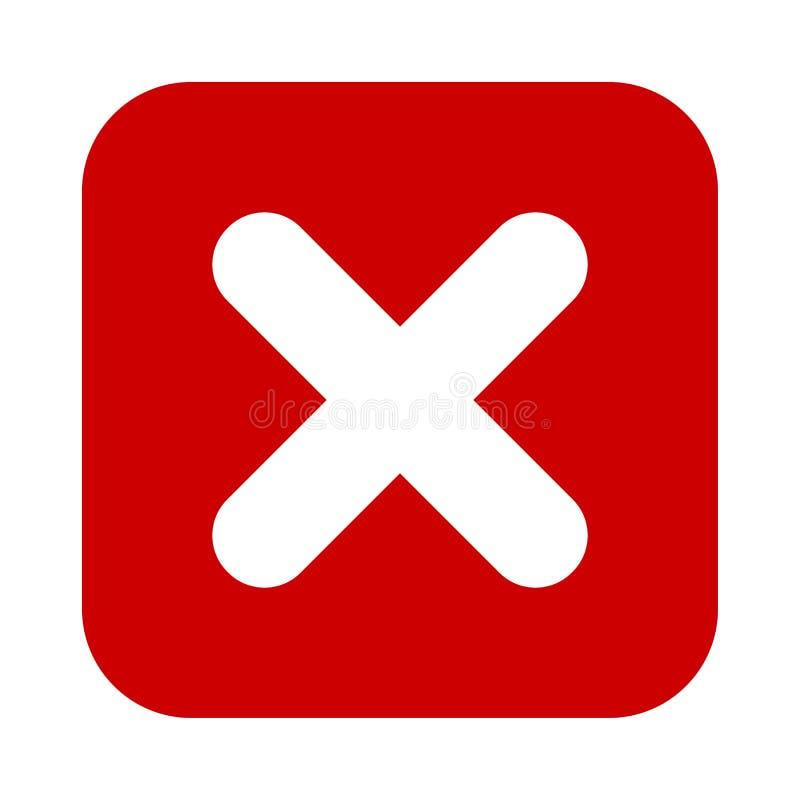 Ícone vermelho da marca lisa do quadrado X, botão S?mbolo transversal isolado no fundo branco ilustração stock