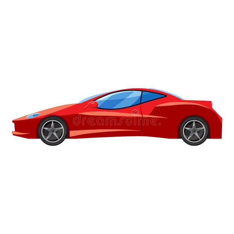 Ícone vermelho da opinião lateral do carro desportivo, estilo 3d isométrico ilustração royalty free