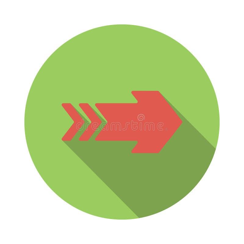 Ícone vermelho da seta direita, estilo liso ilustração royalty free