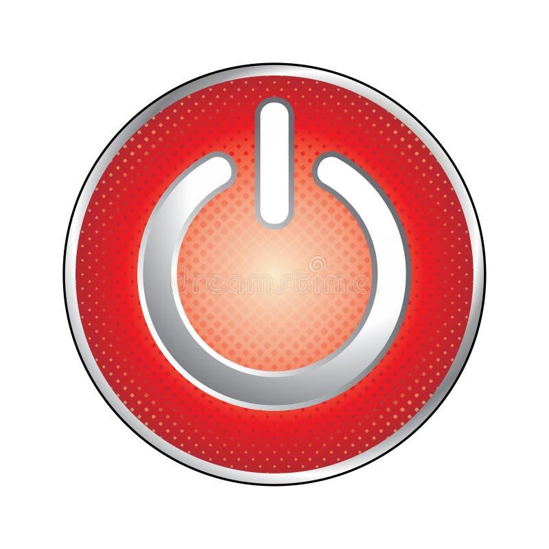 Ícone vermelho da tecla da potência ilustração royalty free