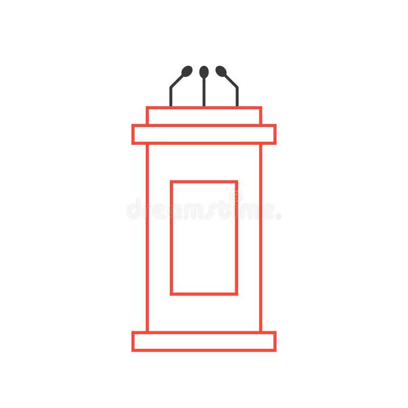 Ícone vermelho da tribuna da linha fina ilustração royalty free
