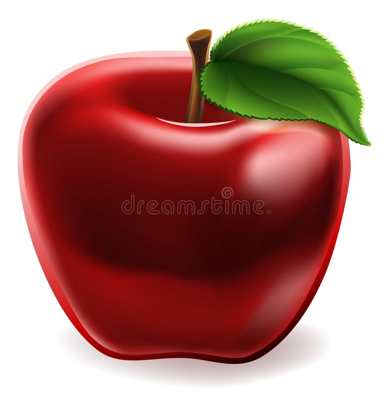 Ícone vermelho de Apple dos desenhos animados ilustração royalty free