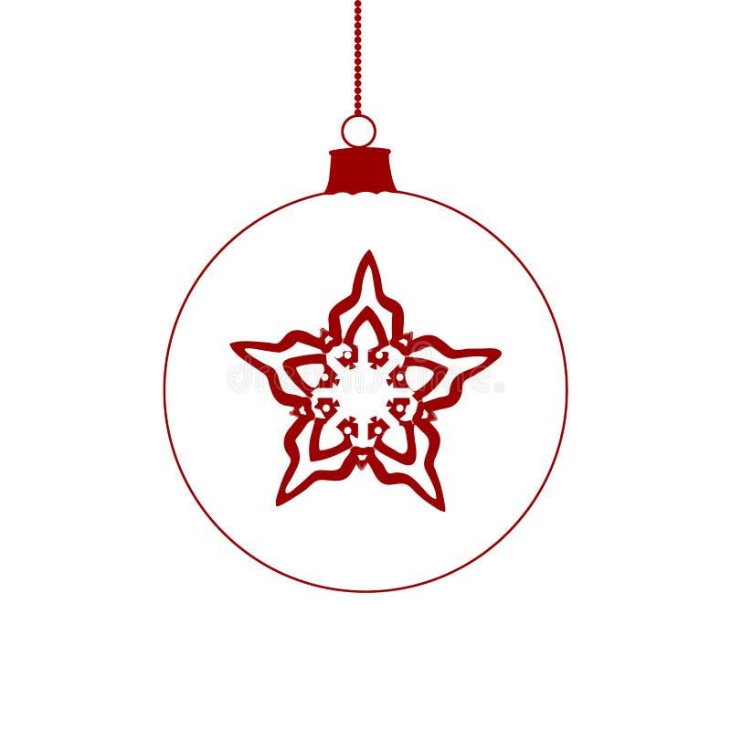 Ícone vermelho de suspensão da bola do Natal Limpe linhas ilustração stock